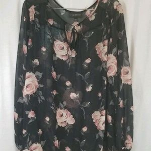 Lane Bryant Black Pink Roses Sheer Top 22W 24W